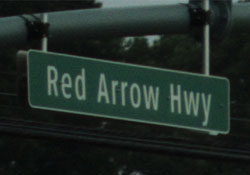 red arrow highway sign
